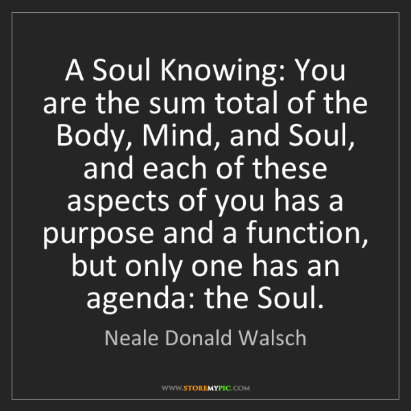Neale Donald Walsch: A Soul Knowing: You are the sum total of the Body, Mind,...