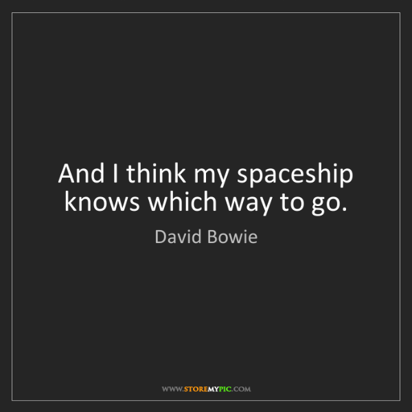 David Bowie: And I think my spaceship knows which way to go.