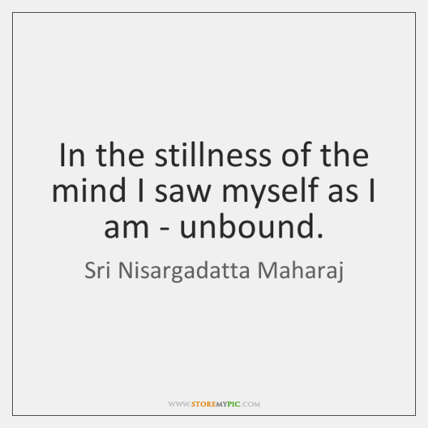 In the stillness of the mind I saw myself as I am ...