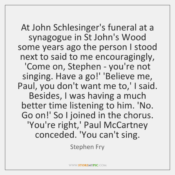 At John Schlesinger's funeral at a synagogue in St John's Wood some ...