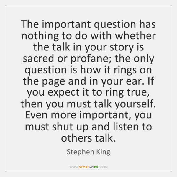The important question has nothing to do with whether the talk in ...