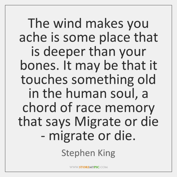 The wind makes you ache is some place that is deeper than ...