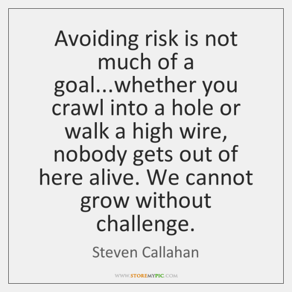 Avoiding risk is not much of a goal...whether you crawl into ...