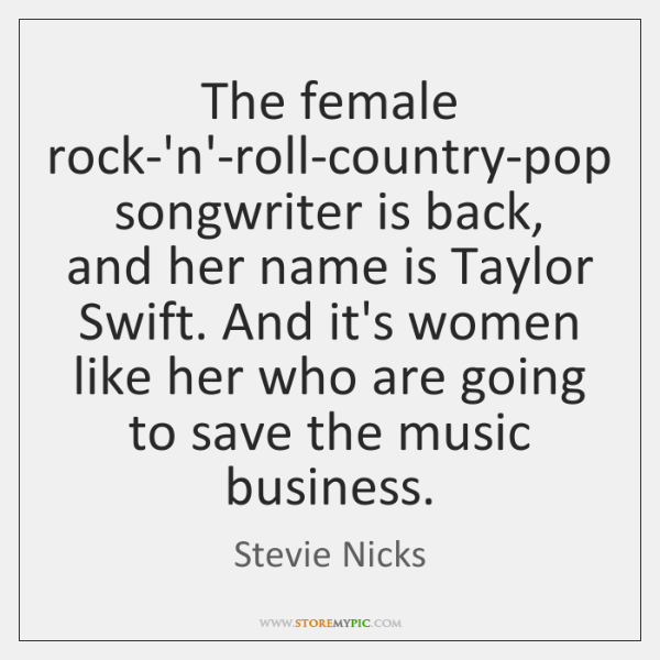 The female rock-'n'-roll-country-pop songwriter is back, and her name is Taylor Swift. ...
