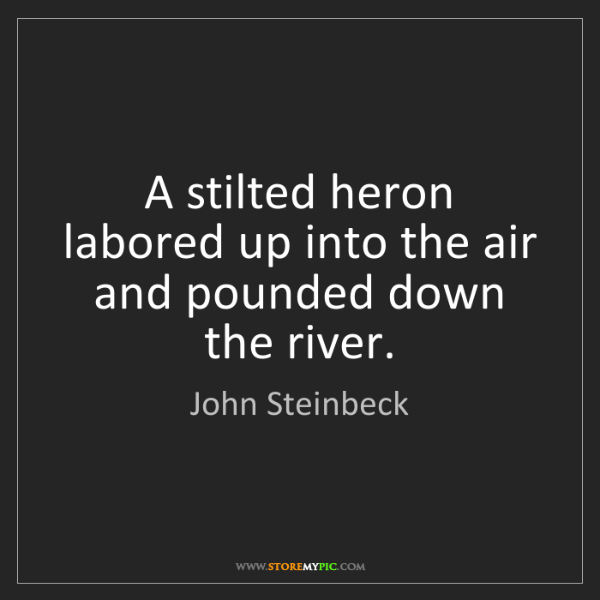 John Steinbeck: A stilted heron labored up into the air and pounded down...