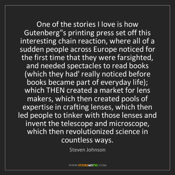 Steven Johnson: One of the stories I love is how Gutenberg's printing...