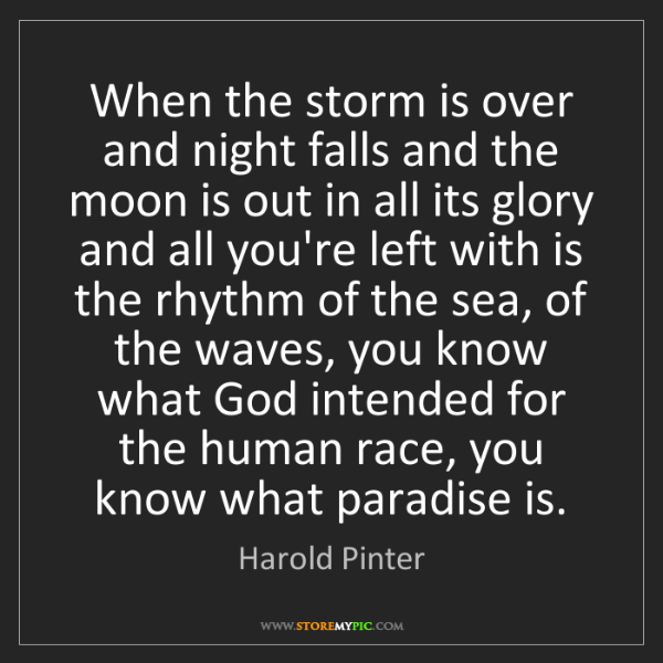 Harold Pinter: When the storm is over and night falls and the moon is...