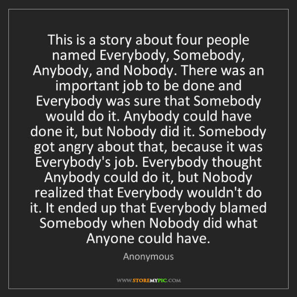 Anonymous: This is a story about four people named Everybody, Somebody,...