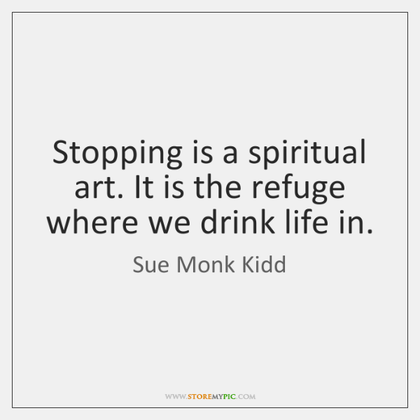 Stopping is a spiritual art. It is the refuge where we drink ...