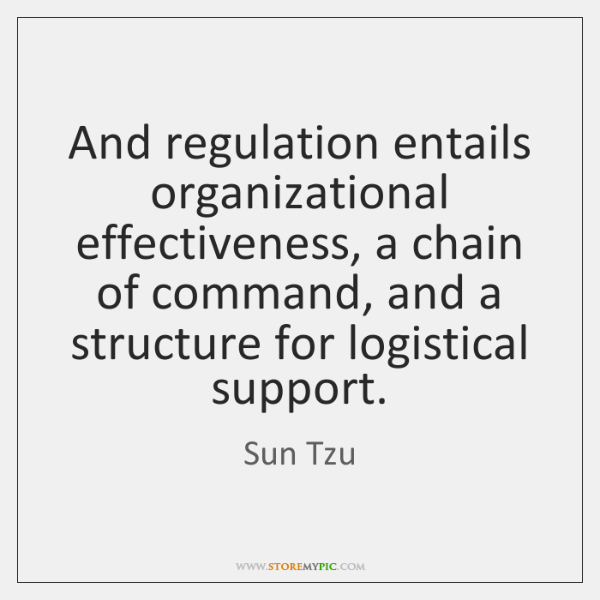 And regulation entails organizational effectiveness, a chain of command, and a structure ...