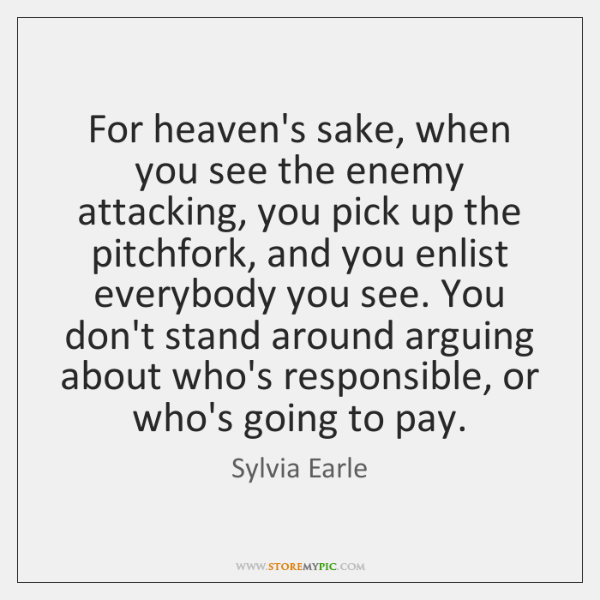 For heaven's sake, when you see the enemy attacking, you pick up ...