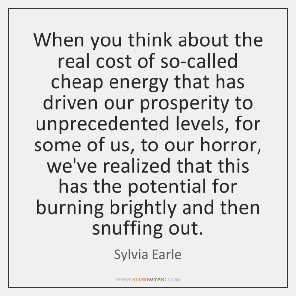 When you think about the real cost of so-called cheap energy that ...