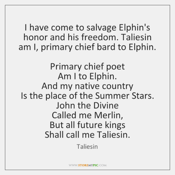 I have come to salvage Elphin's honor and his freedom. Taliesin am ...