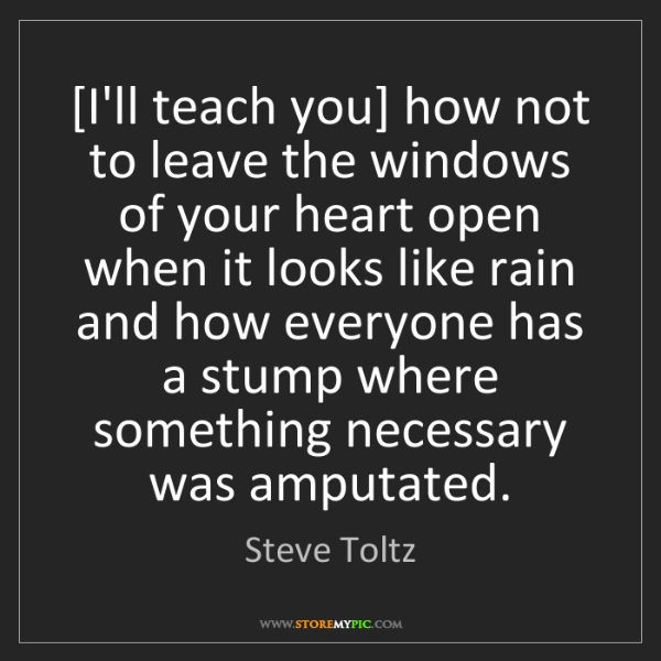 Steve Toltz: [I'll teach you] how not to leave the windows of your...