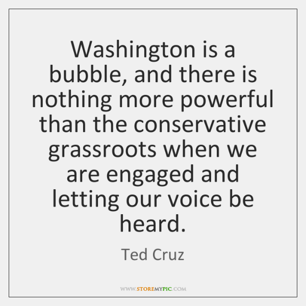 Washington is a bubble, and there is nothing more powerful than the ...