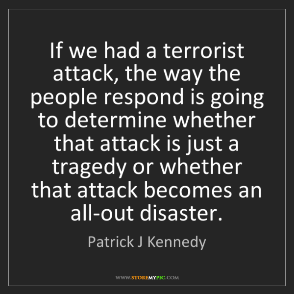 Patrick J Kennedy: If we had a terrorist attack, the way the people respond...