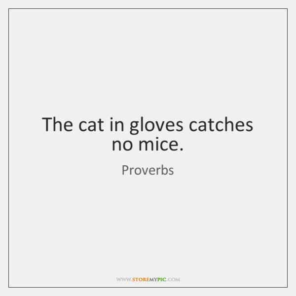 The cat in gloves catches no mice.
