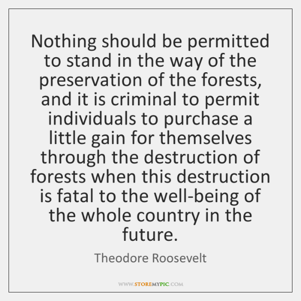 Nothing should be permitted to stand in the way of the preservation ...