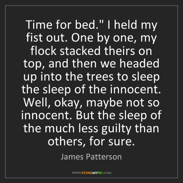 """James Patterson: Time for bed."""" I held my fist out. One by one, my flock..."""