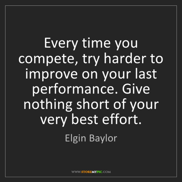 Elgin Baylor: Every time you compete, try harder to improve on your...