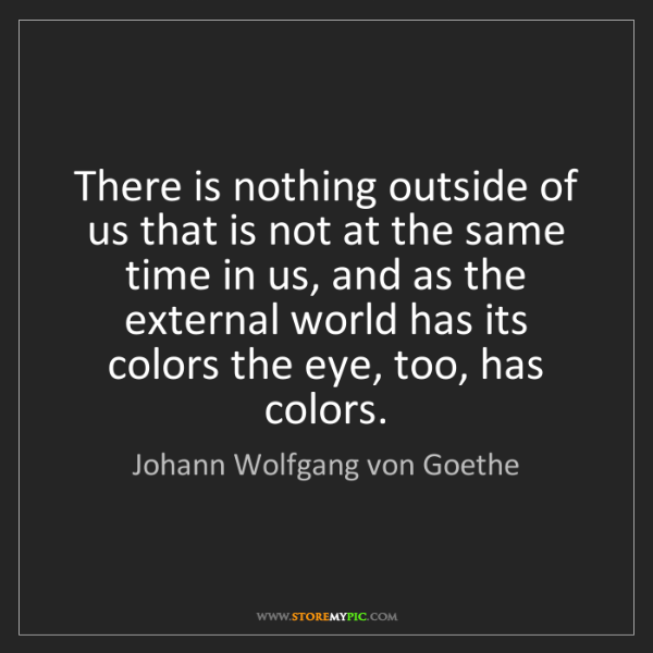 Johann Wolfgang von Goethe: There is nothing outside of us that is not at the same...