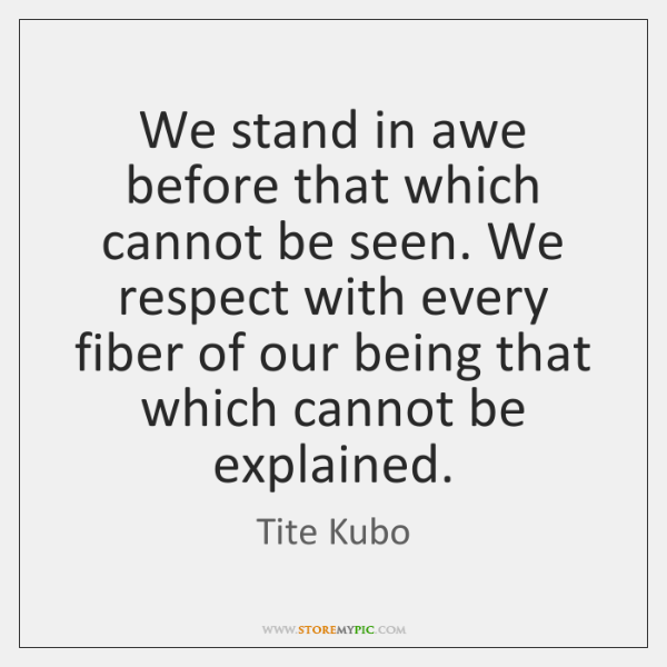 We stand in awe before that which cannot be seen. We respect ...