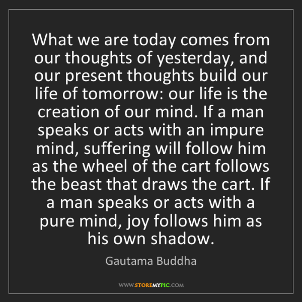 Gautama Buddha: What we are today comes from our thoughts of yesterday,...