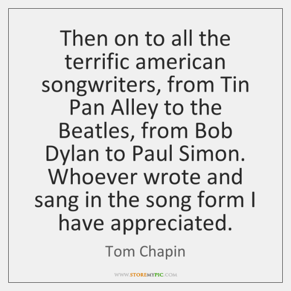 Then on to all the terrific american songwriters, from Tin Pan Alley ...