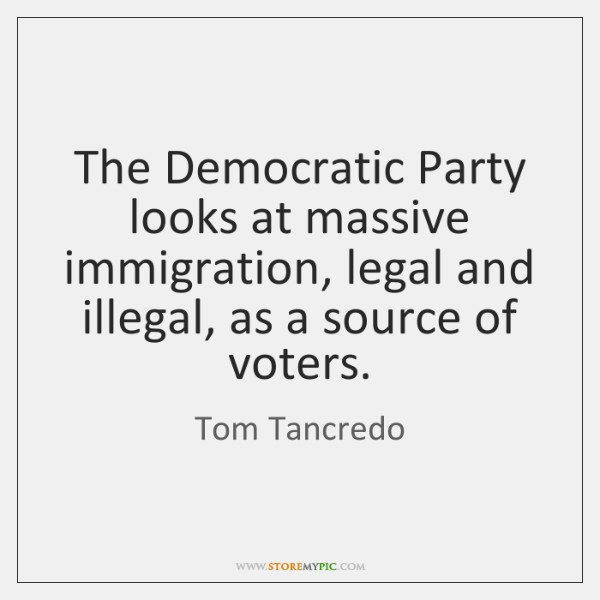 The Democratic Party looks at massive immigration, legal and illegal, as a ...