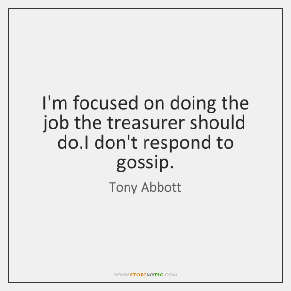 I'm focused on doing the job the treasurer should do.I don't ...