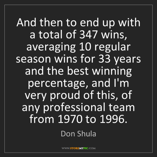 Don Shula: And then to end up with a total of 347 wins, averaging...