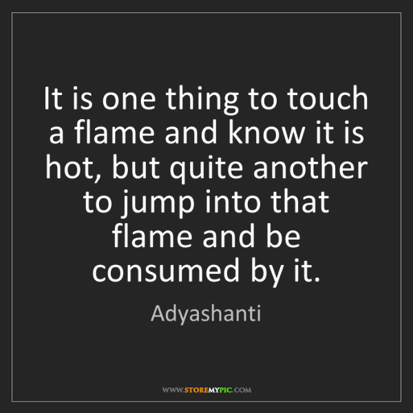 Adyashanti: It is one thing to touch a flame and know it is hot,...