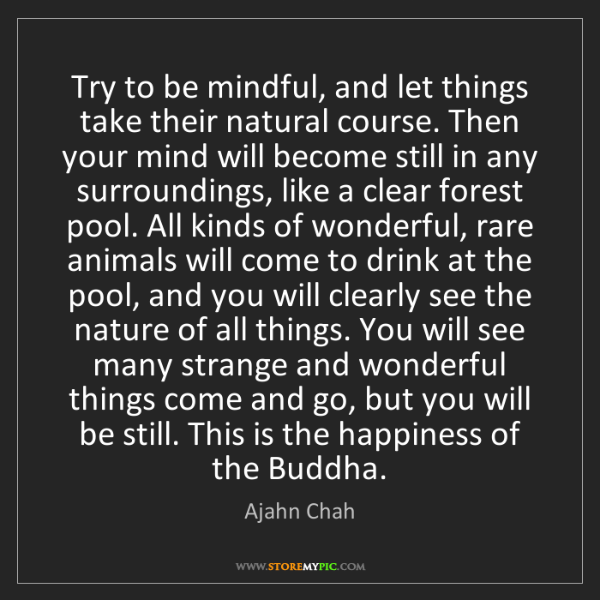 Ajahn Chah: Try to be mindful, and let things take their natural...