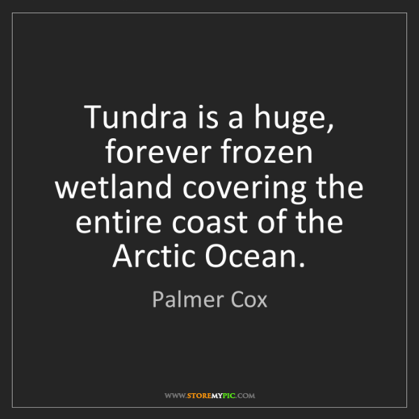Palmer Cox: Tundra is a huge, forever frozen wetland covering the...
