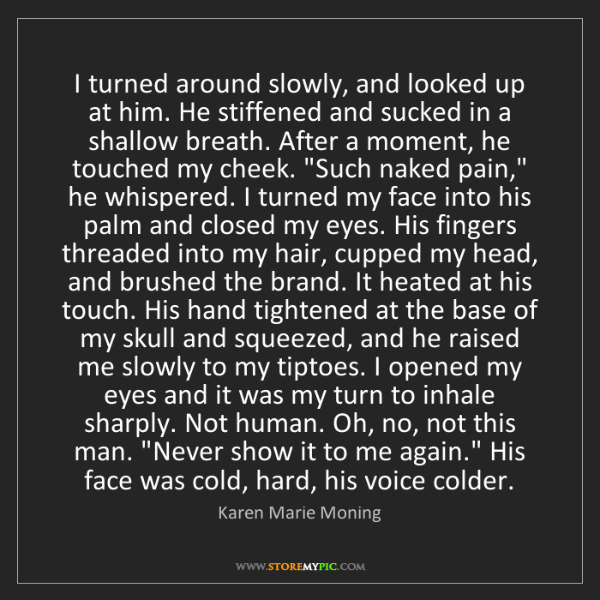 Karen Marie Moning: I turned around slowly, and looked up at him. He stiffened...