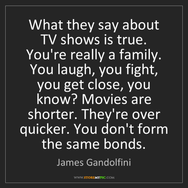 James Gandolfini: What they say about TV shows is true. You're really a...