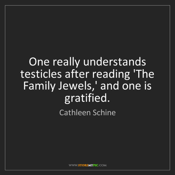 Cathleen Schine: One really understands testicles after reading 'The Family...