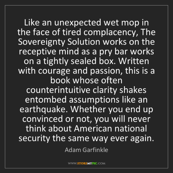 Adam Garfinkle: Like an unexpected wet mop in the face of tired complacency,...