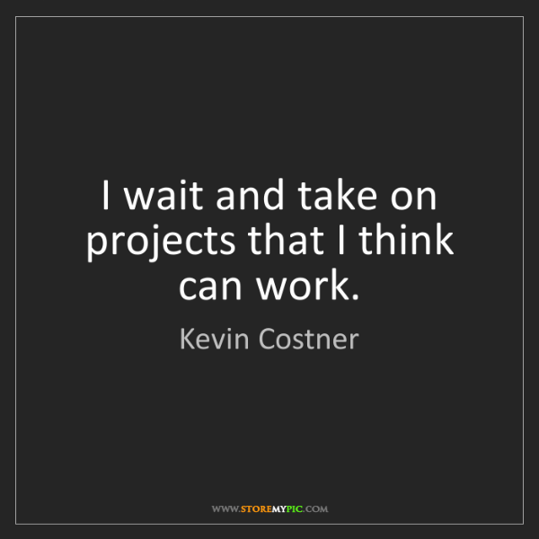 Kevin Costner: I wait and take on projects that I think can work.