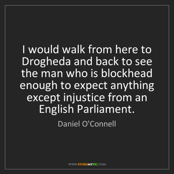 Daniel O'Connell: I would walk from here to Drogheda and back to see the...