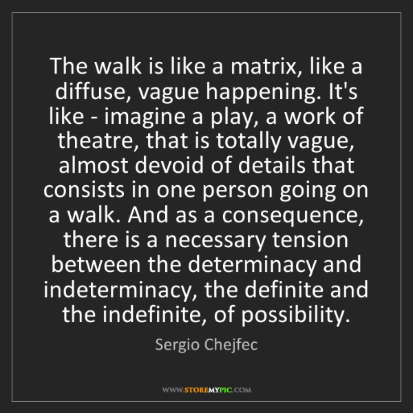 Sergio Chejfec: The walk is like a matrix, like a diffuse, vague happening....