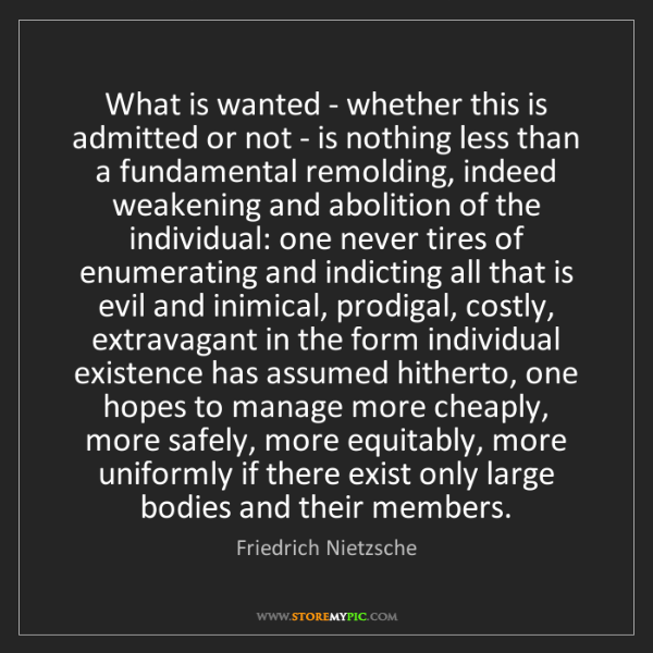 Friedrich Nietzsche: What is wanted - whether this is admitted or not - is...