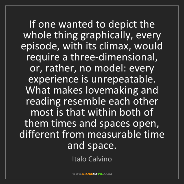 Italo Calvino: If one wanted to depict the whole thing graphically,...