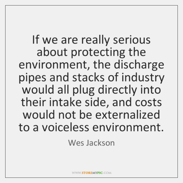 If we are really serious about protecting the environment, the discharge pipes ...