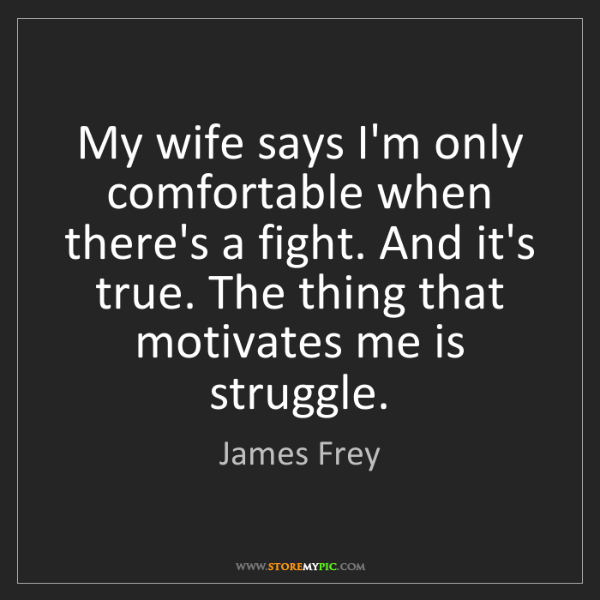 James Frey: My wife says I'm only comfortable when there's a fight....