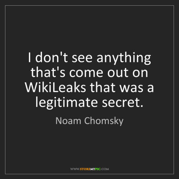 Noam Chomsky: I don't see anything that's come out on WikiLeaks that...