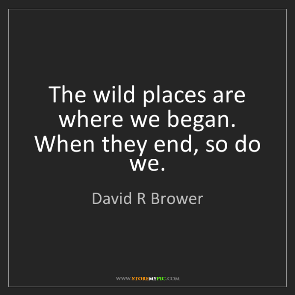 David R Brower: The wild places are where we began. When they end, so...