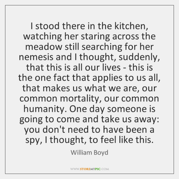 I stood there in the kitchen, watching her staring across the meadow ...