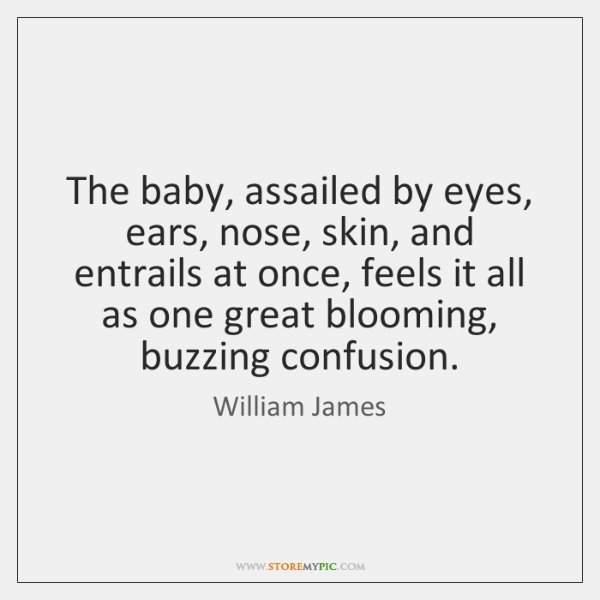 The baby, assailed by eyes, ears, nose, skin, and entrails at once, ...