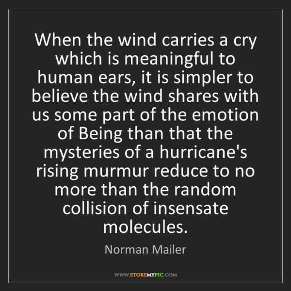 Norman Mailer: When the wind carries a cry which is meaningful to human...